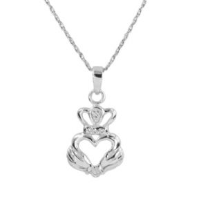 Celtic Claddagh Silver Heart Pendant with Cubic Zirconia 9208